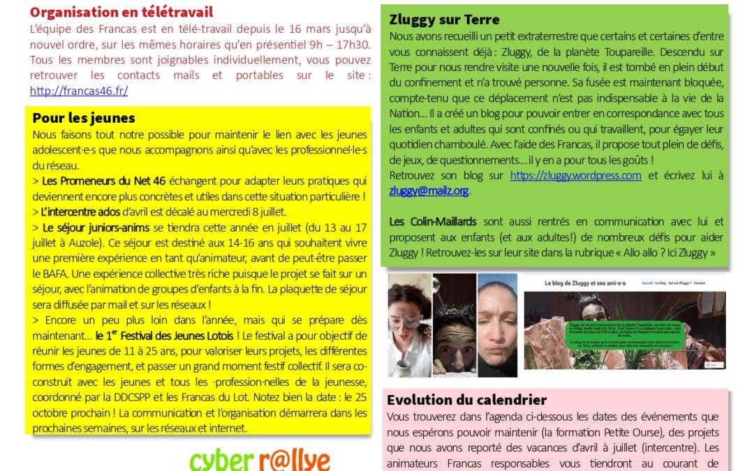 Newsletter spéciale confinement avril 2020
